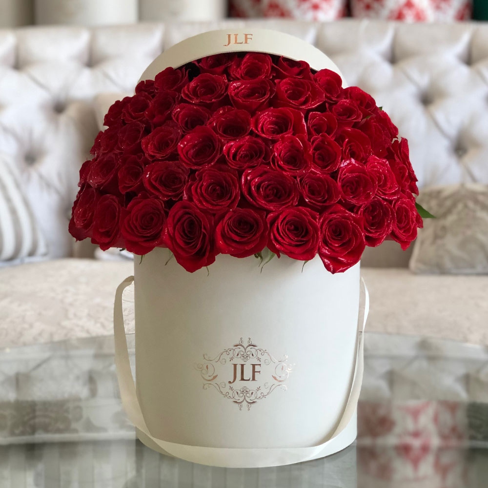 Signature Red Roses In White Box