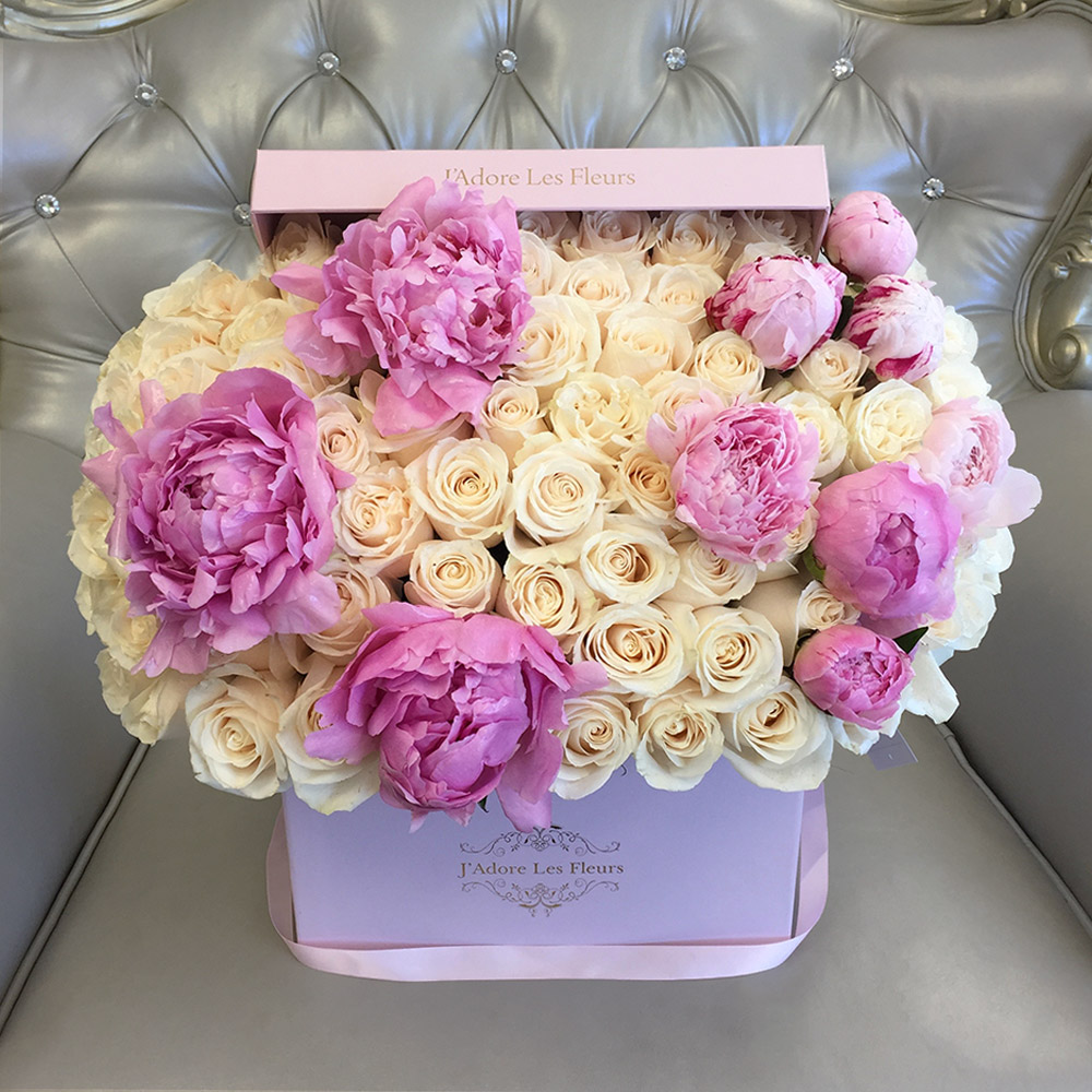 Adore Los Angeles signature white roses with peonies