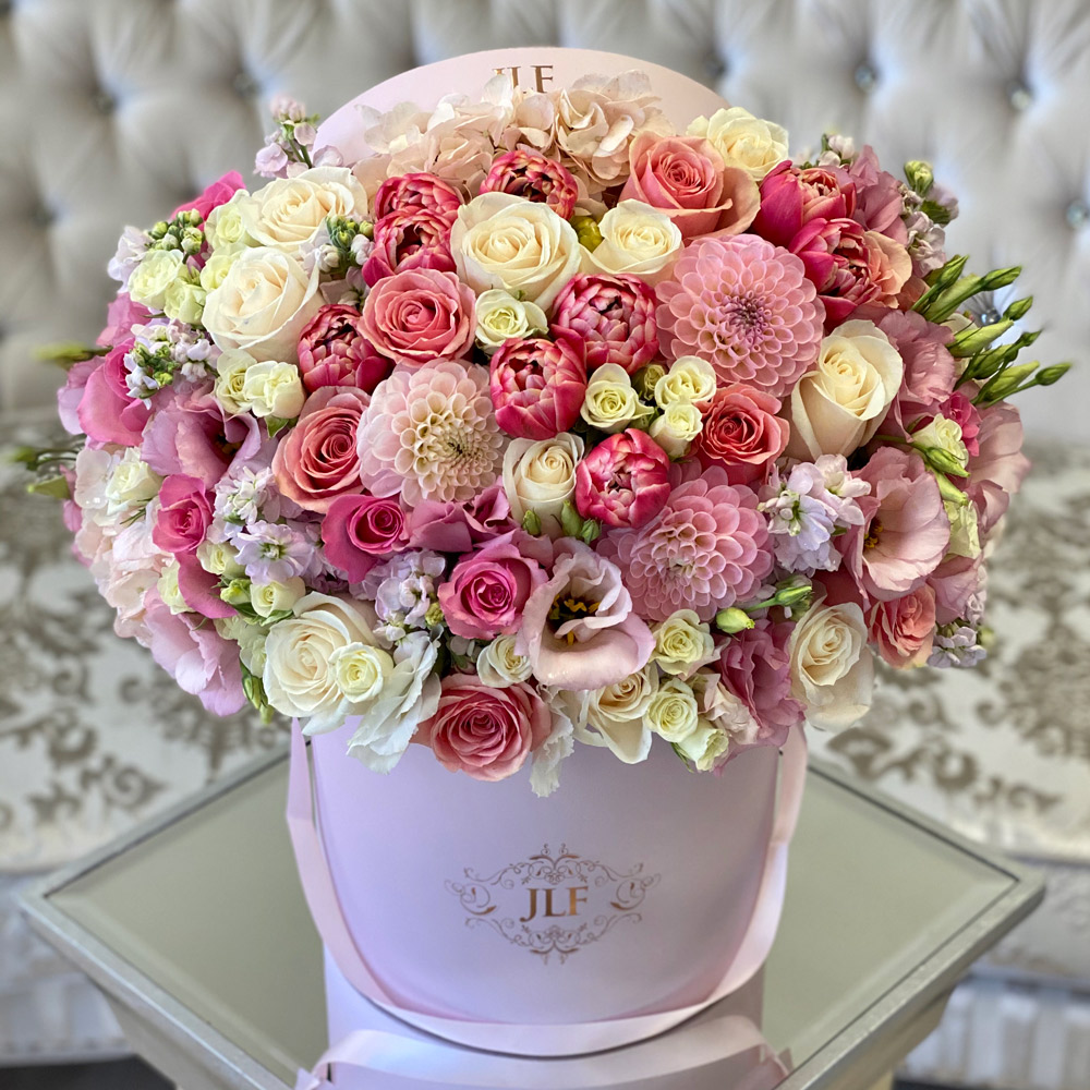 Pink-Full with White Roses
