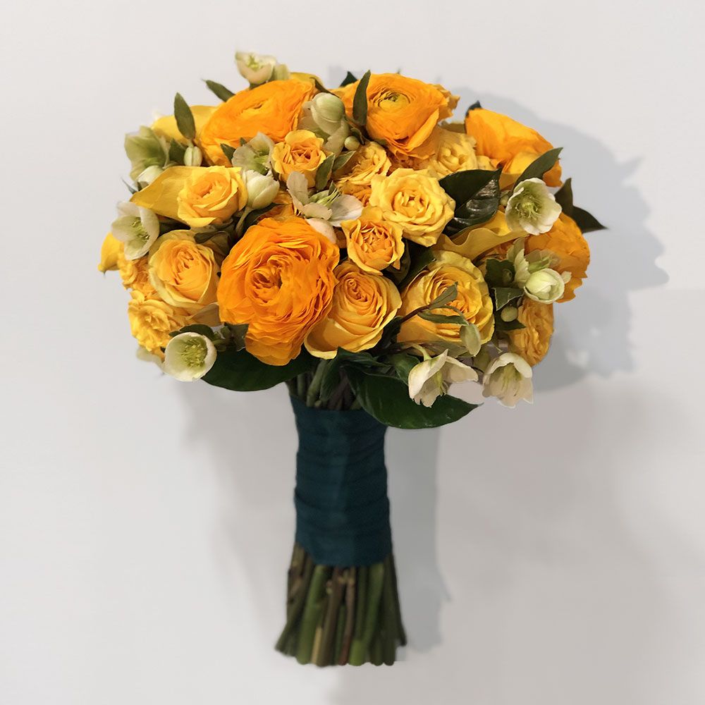 Yellow Ranunculus and Rose Bouquet