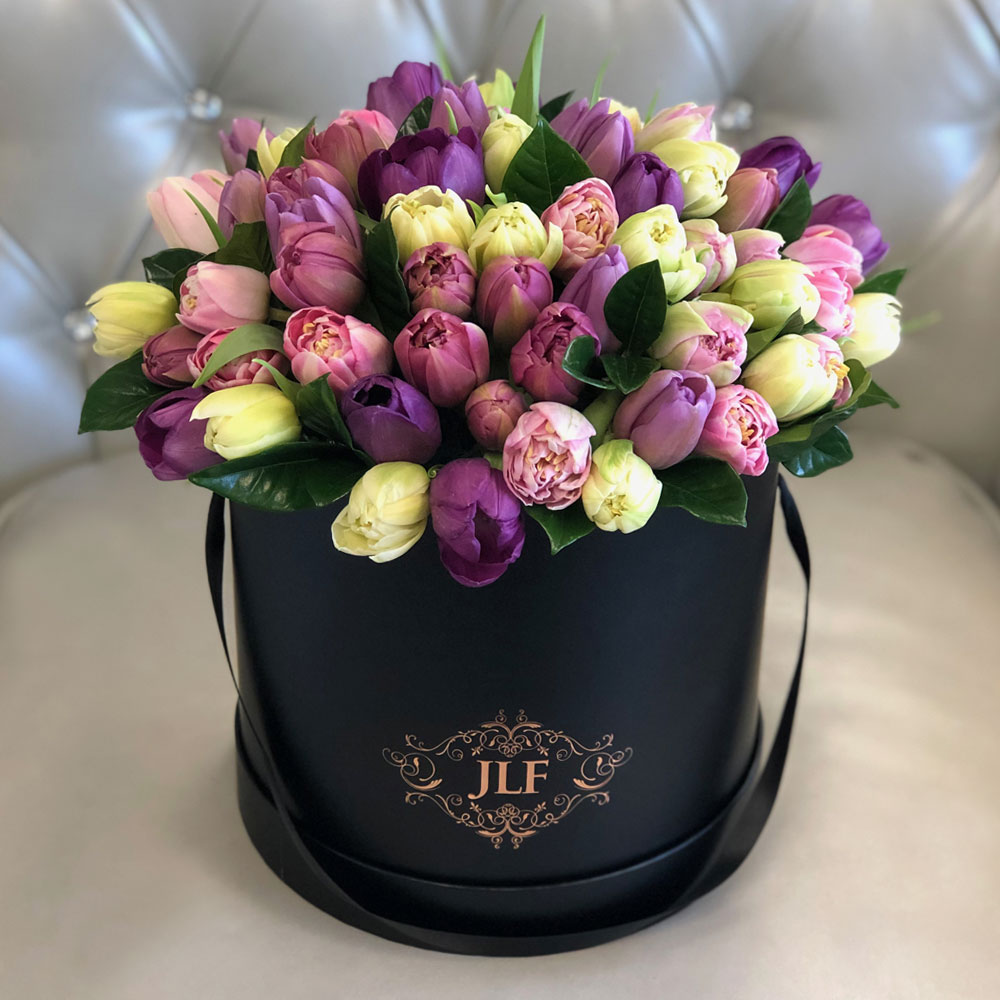 A Lot of Tulips In Black Box