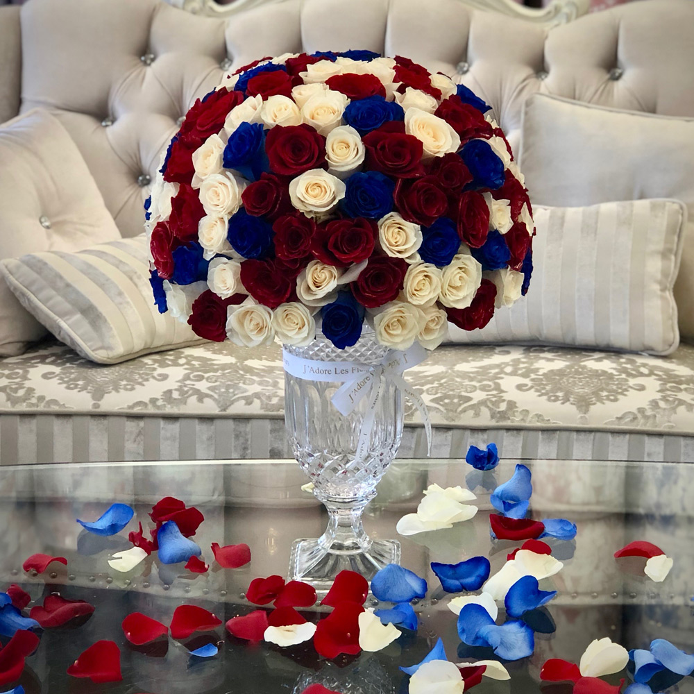 JLF Patriotic Vase with 100 Roses