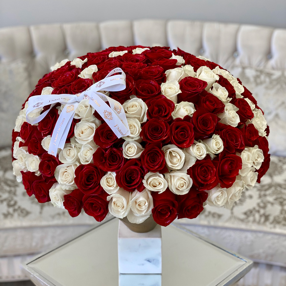 200 White and Red Roses in JLF Vase