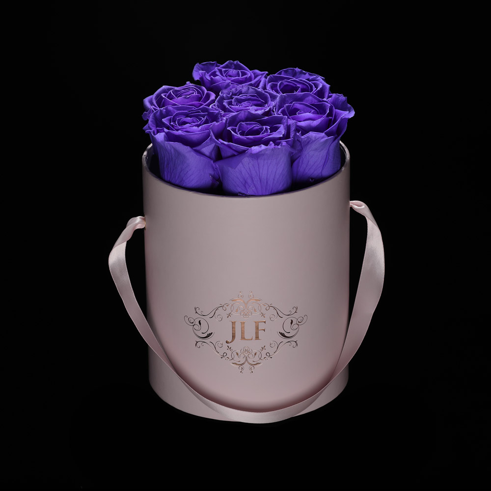 JLF Everlasting Violet Roses In Mini Box