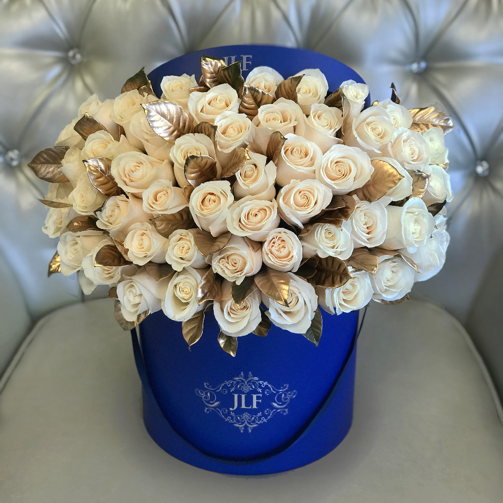 Signature 50 White Roses With Gold Painted Leaves
