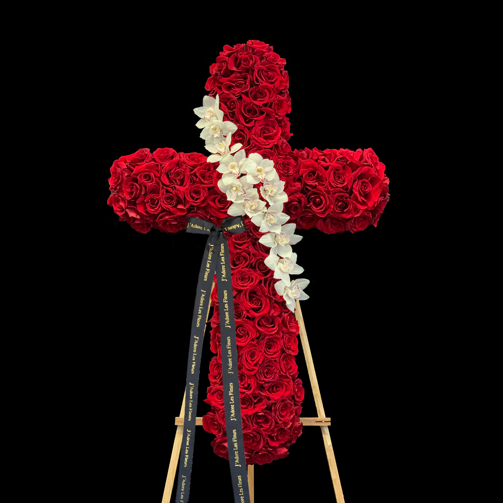 Red Rose & Orchids Standing Cross JLF Sympathy