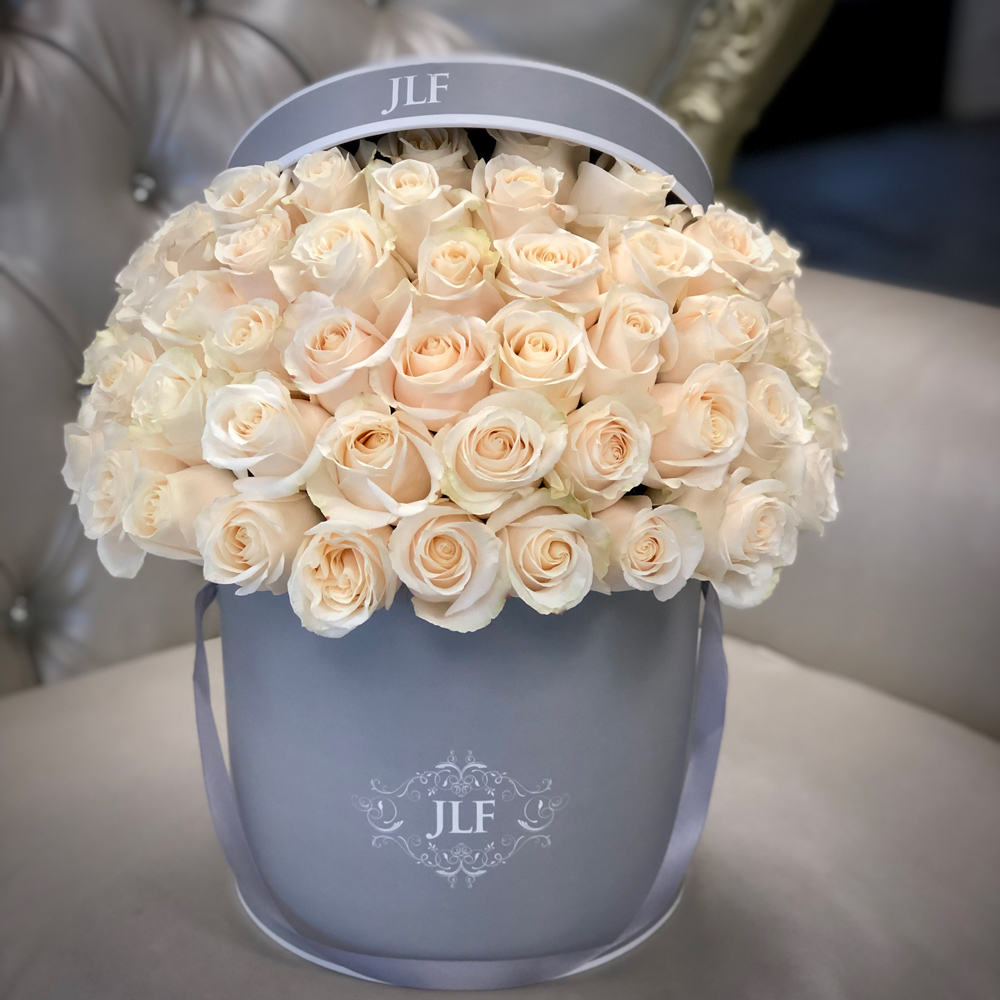 Signature White Roses in Classic Gray Box