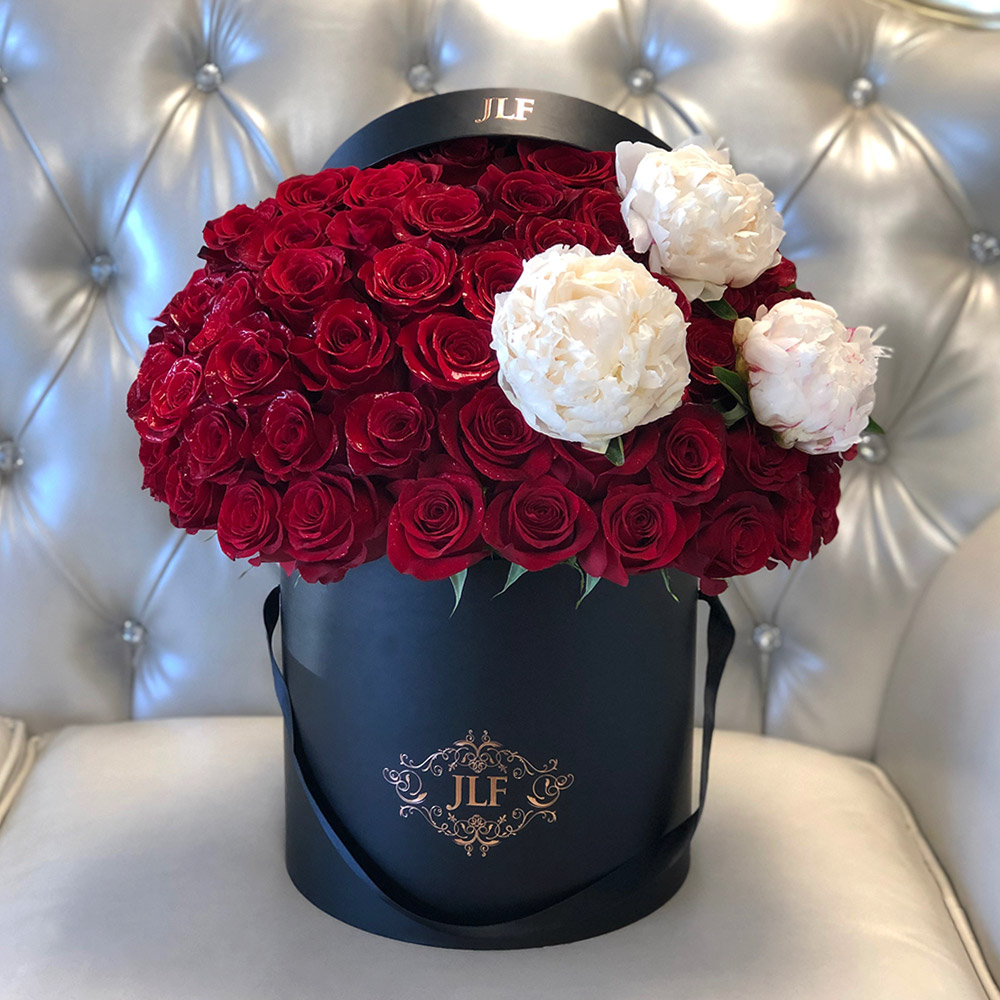 Signature Red Roses With Peonies