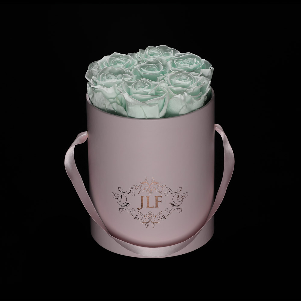Everlasting Mint Roses In Mini Box