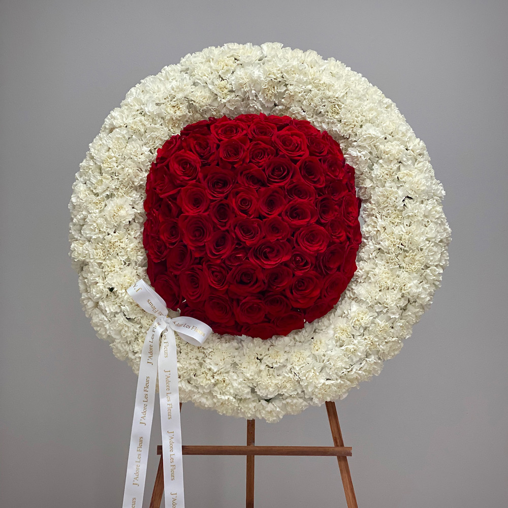 Roses & Carnations JLF Standing Sympathy Wreath