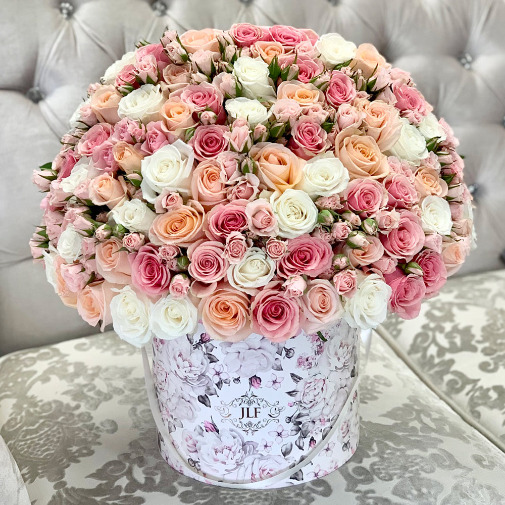 Colors of Happiness in White Floral Box