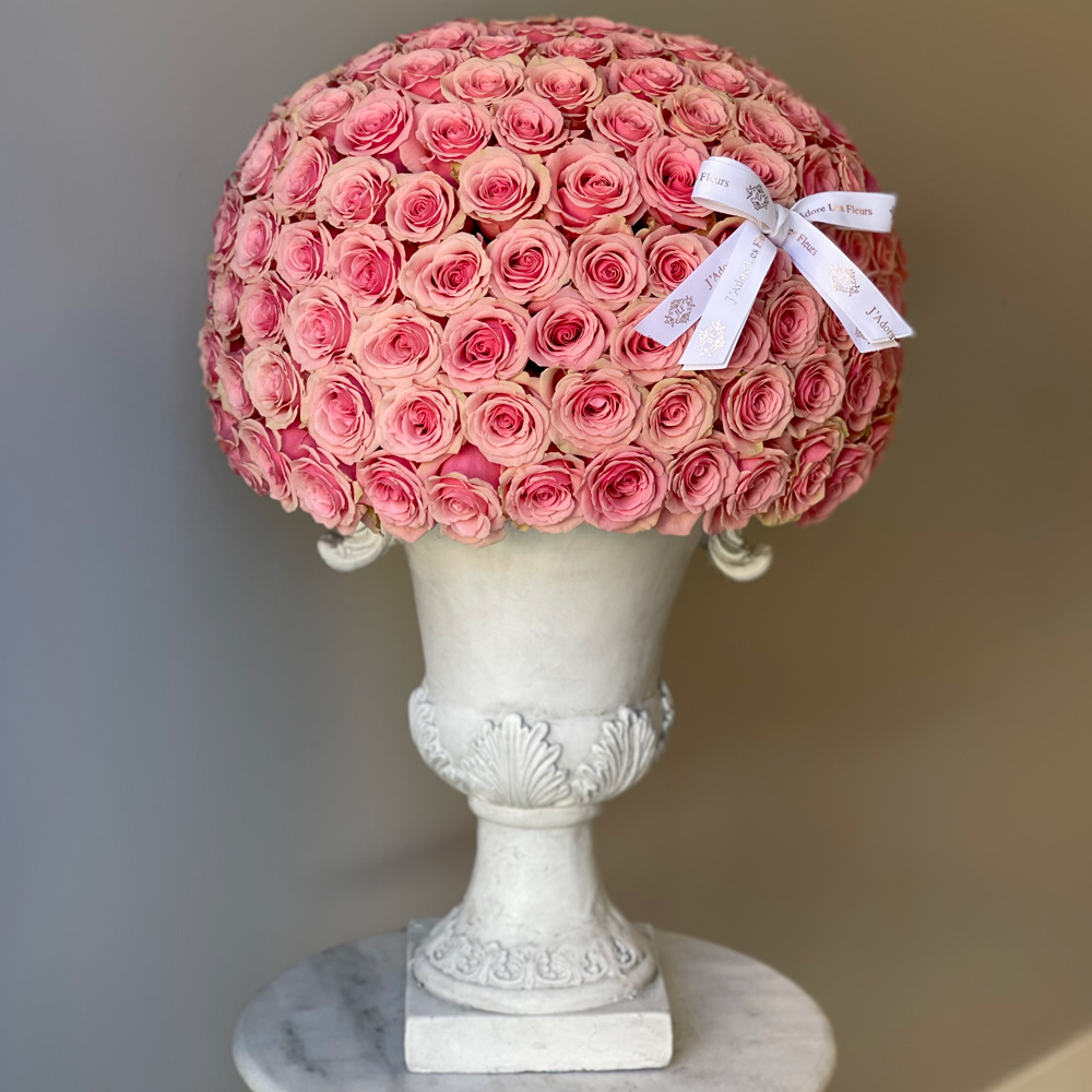 200 JLF Signature Dome Shape Pink Roses in an Urn