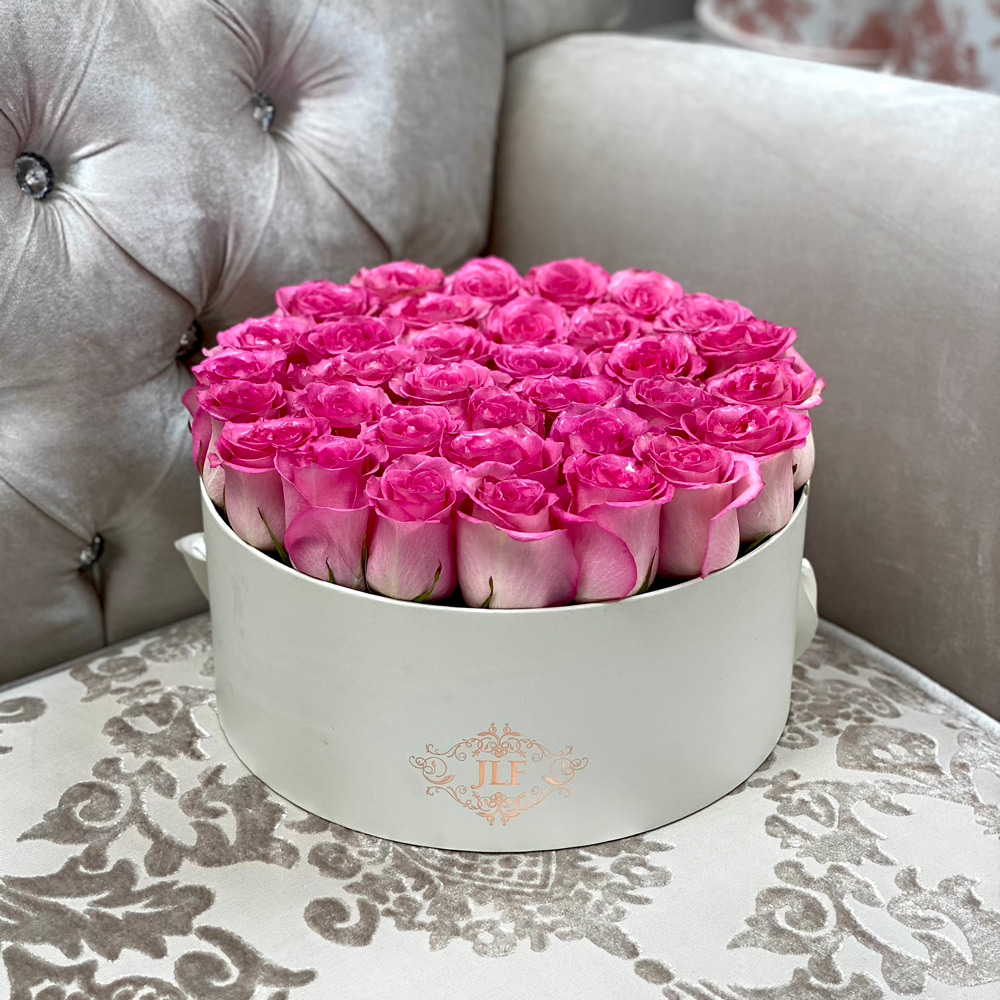 Signature Yelena Pink Roses in Low Round Box