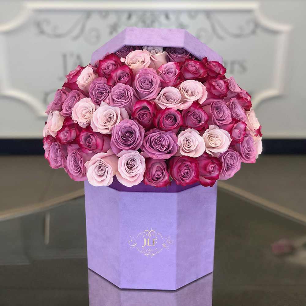 Signature 50 Pink & Lavender Roses In Hexagon Box