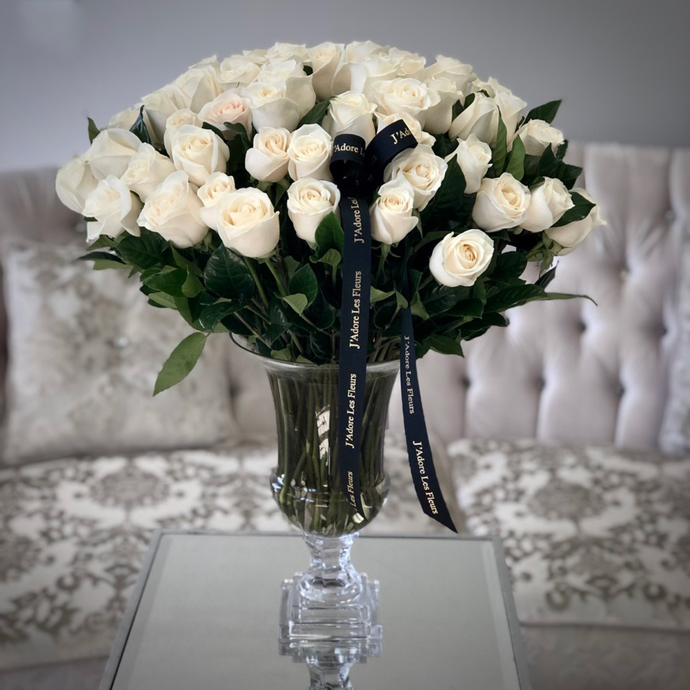 75 JLF White Roses in a Glass Vase