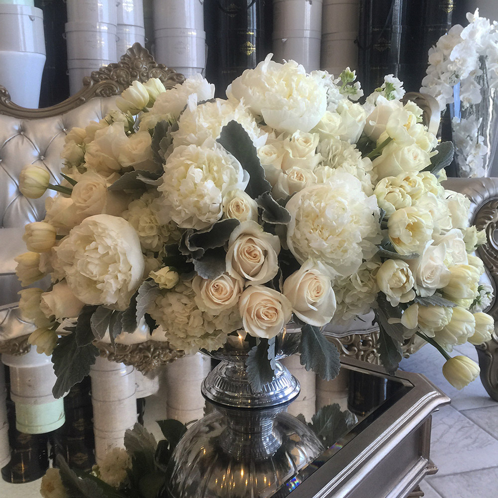Delicate Whites in a Silver Vase