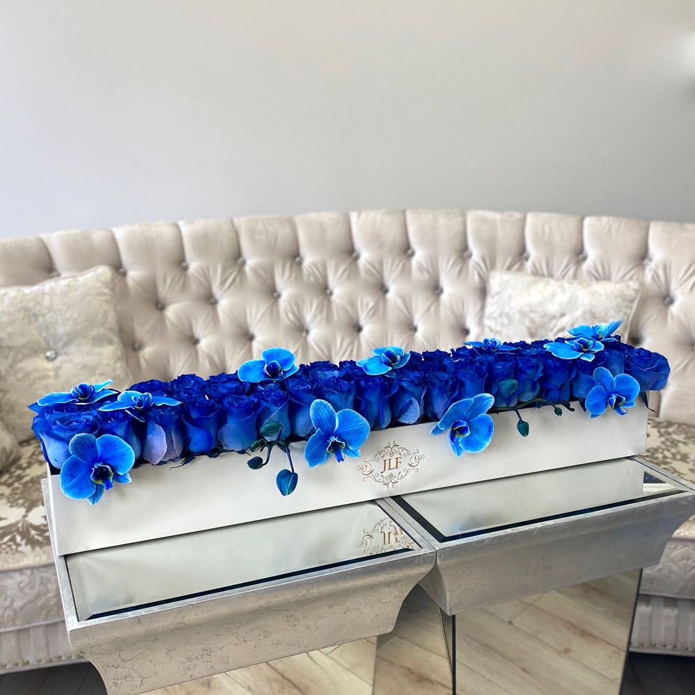 Yelena Blue Roses with Orchids In Rectangle Box