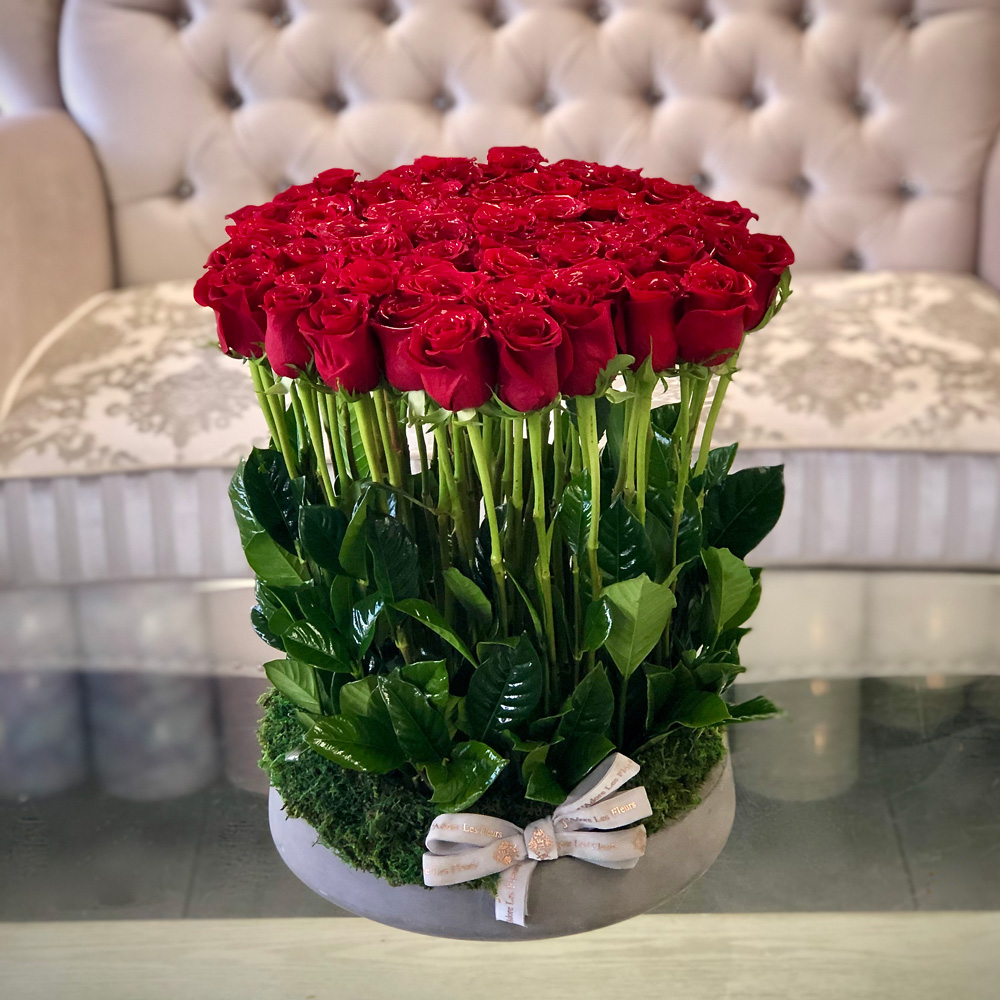 Luxury Standing Roses in a Ceramic Bowl