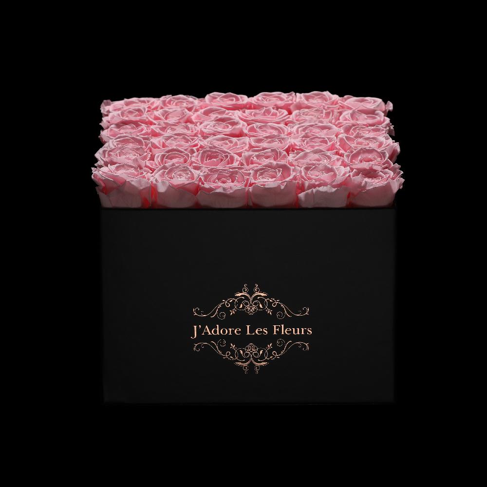JLF Everlasting Light Pink Roses In Medium Square Box