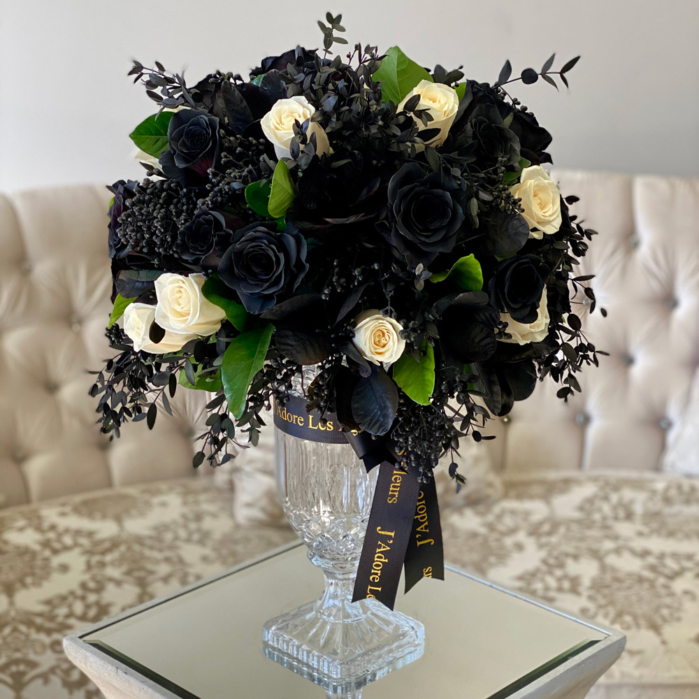 JLF Black Roses in the Perfect Vase