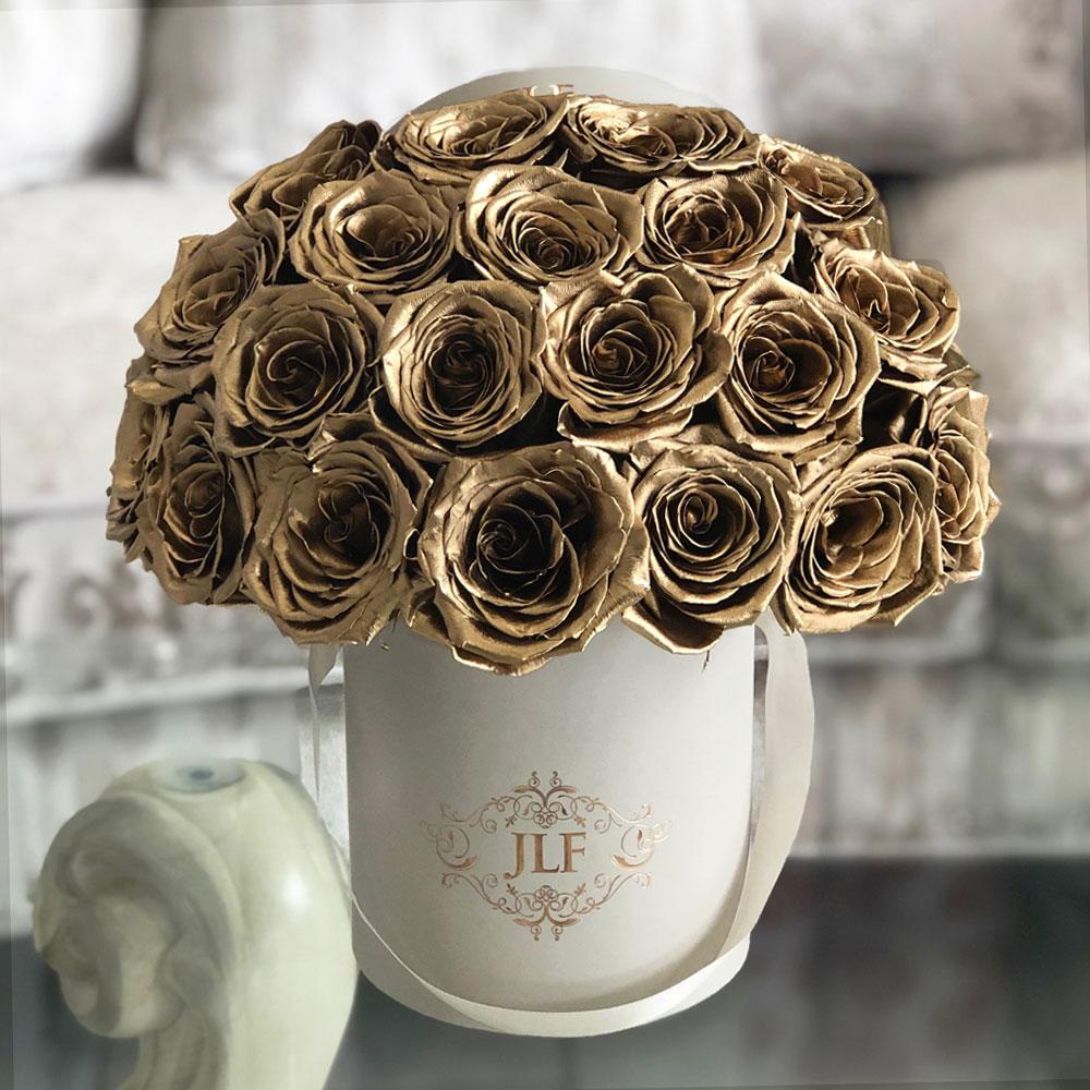 JLF Gold Painted Roses In Mini Box