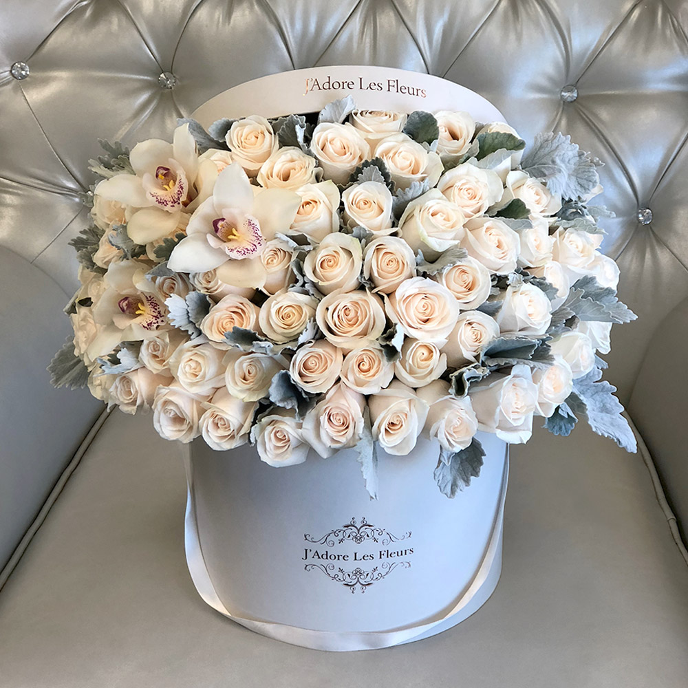 Signature White Roses With Orchids & Dusty Miller Leaves