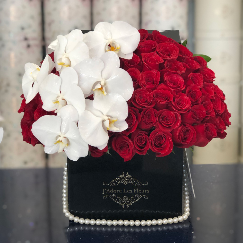 Signature Red Roses With Phalaenopsis Orchids