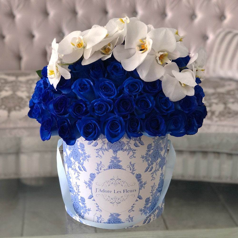 Signature 50 Blue Roses With Orchids