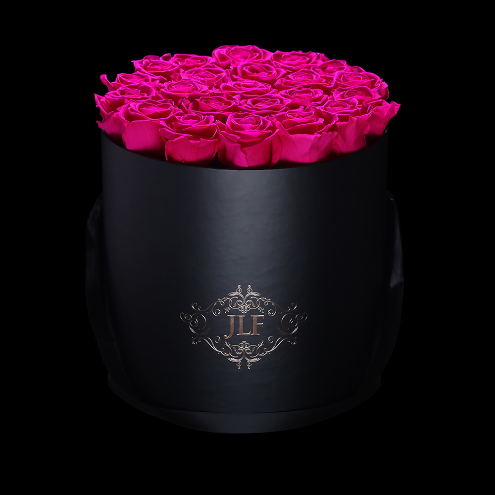 Everlasting Fuchsia Roses in Black Box