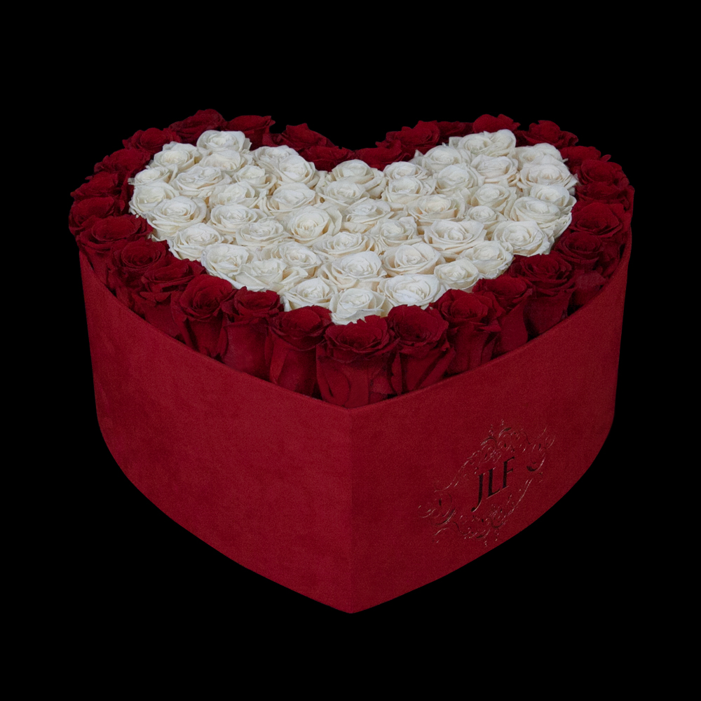 JLF Everlasting Red And Ivory Roses In Heart Box