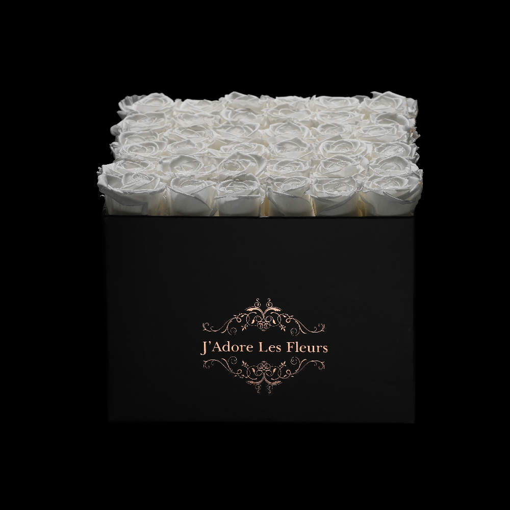 JLF Everlasting White Roses In Medium Square Box