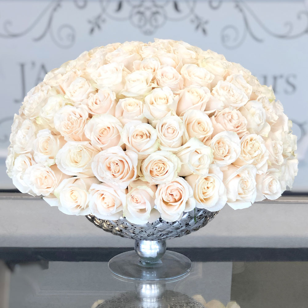 Signature 100 White Roses In A Silver Vase