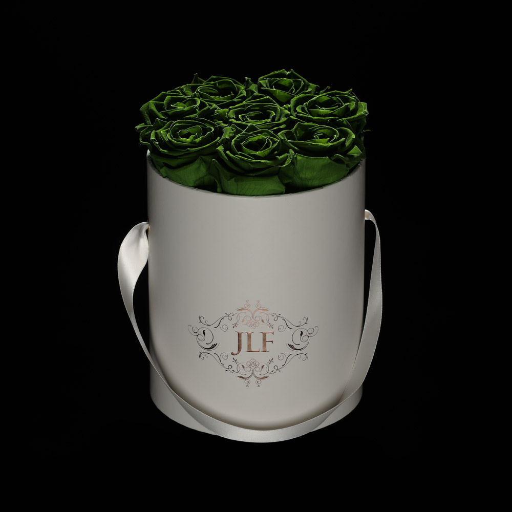 JLF Everlasting Forest Green Roses In Mini Box