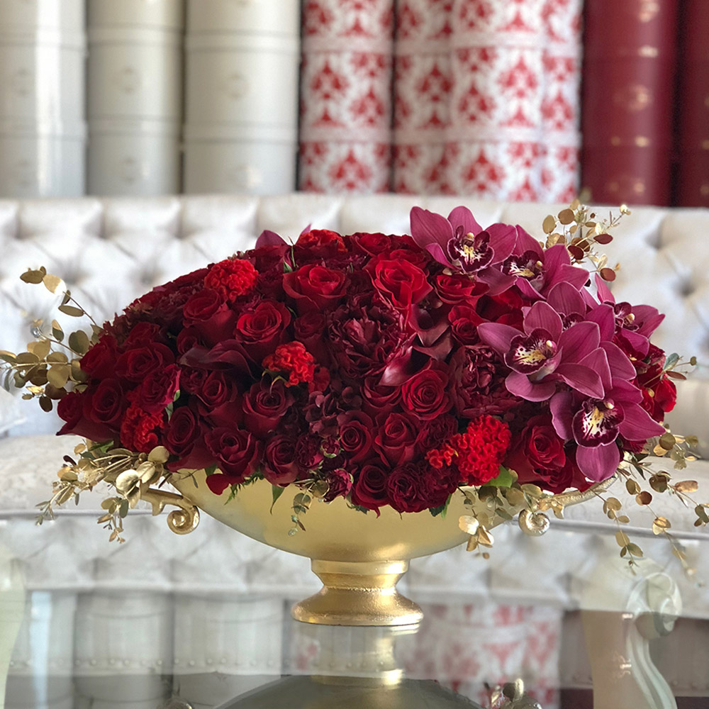 Luxurious Reds In a Gold Vase