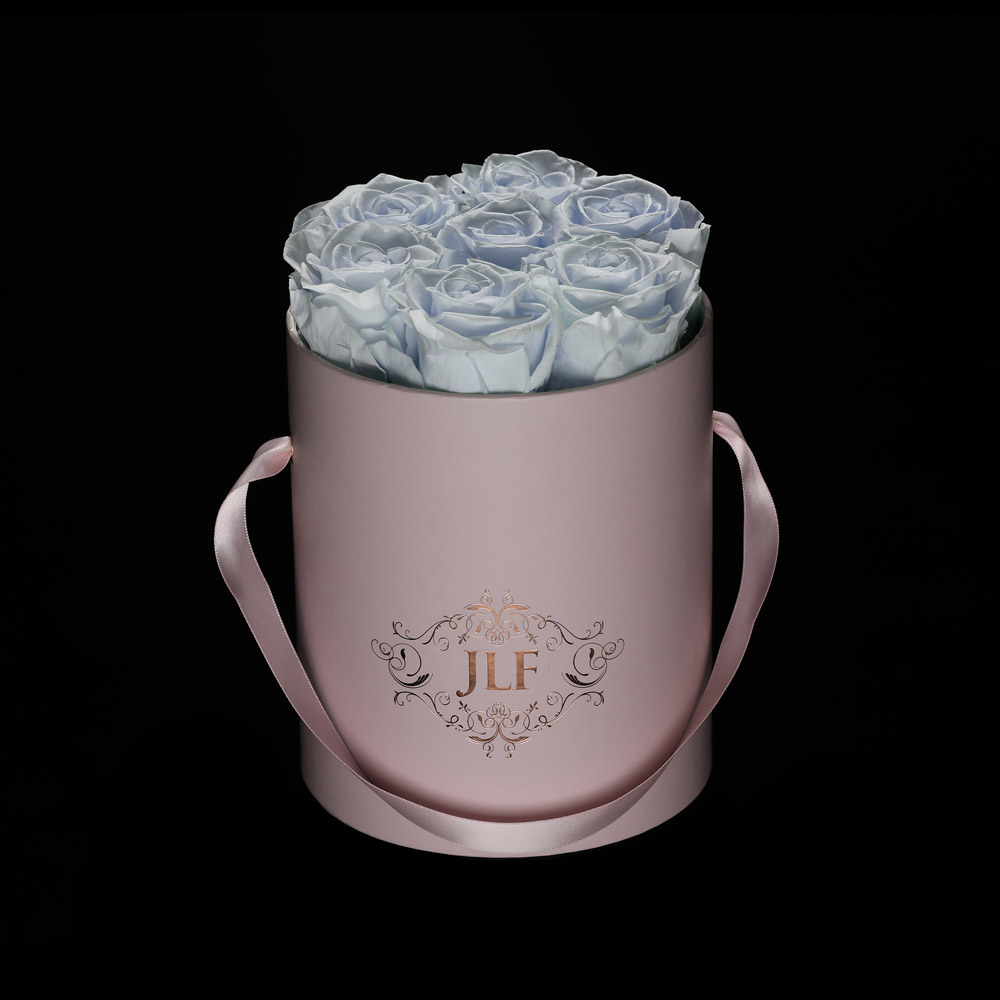 JLF Everlasting Ultralight Blue Roses In Mini Box
