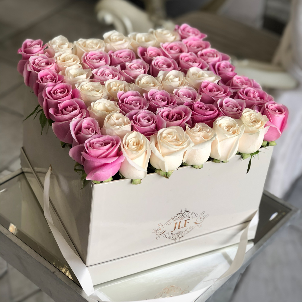 Large Initial Pink & White Rose Box