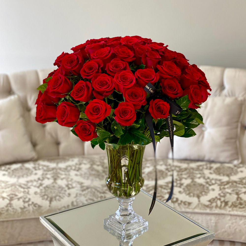 75 Roses in a Glass Vase