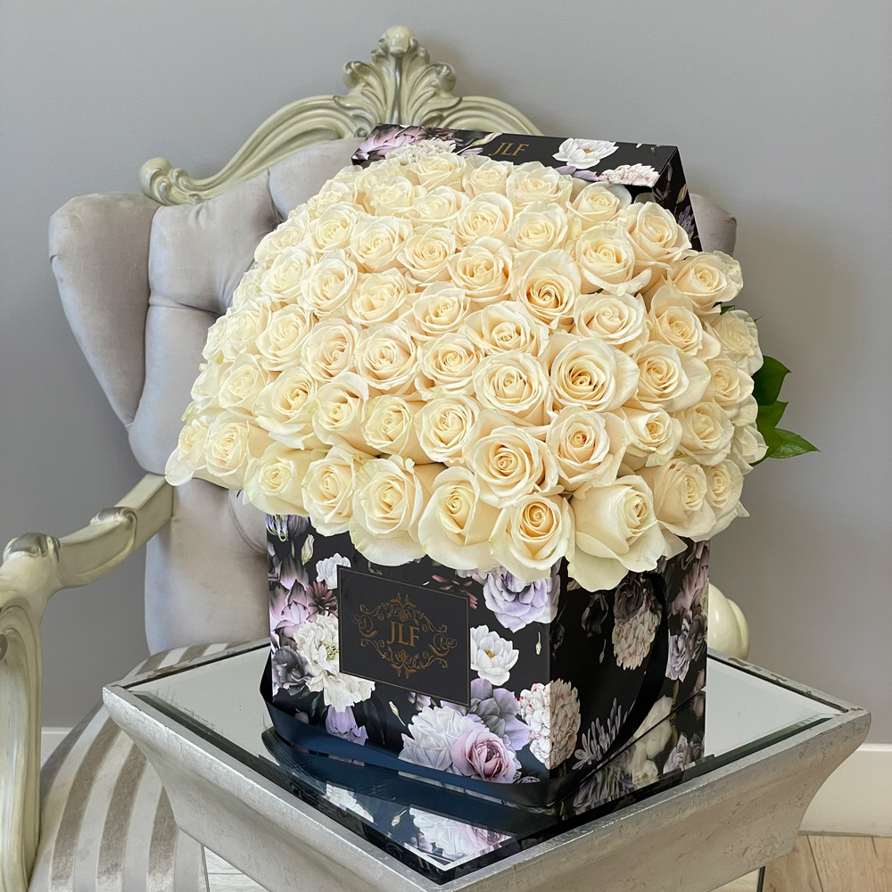 Signature White Roses in JLF Floral Box