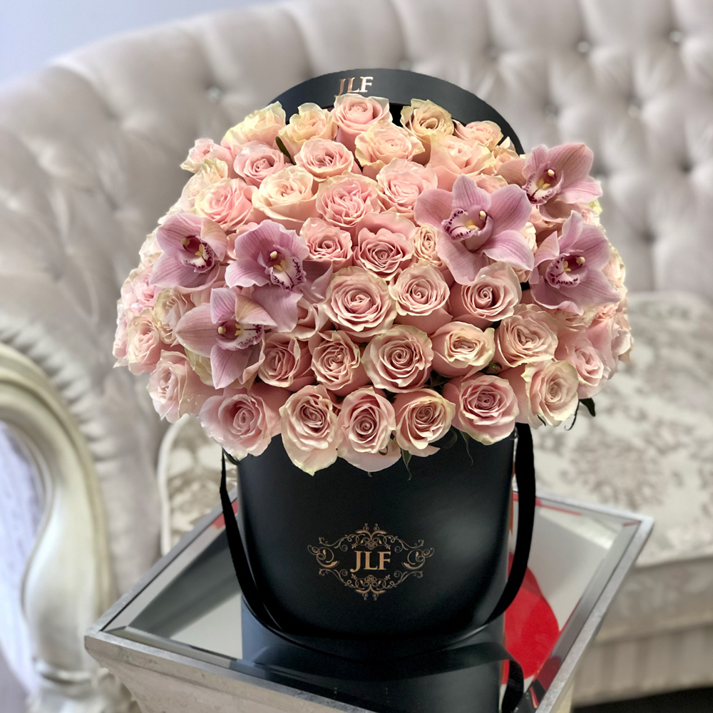 Signature Pink Mondial Roses with Orchids
