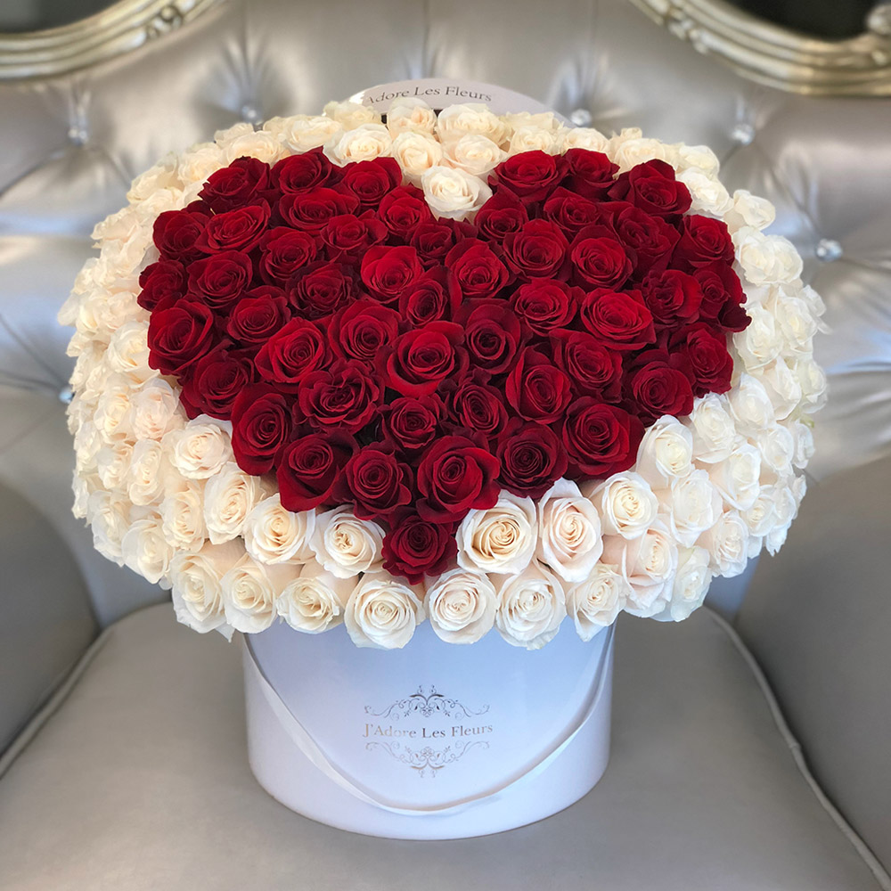 Signature  Heart 150 Red Heart Rose Box