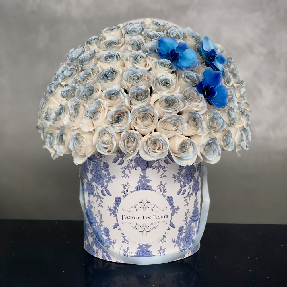 Blue Painted Signature Roses with Orchids