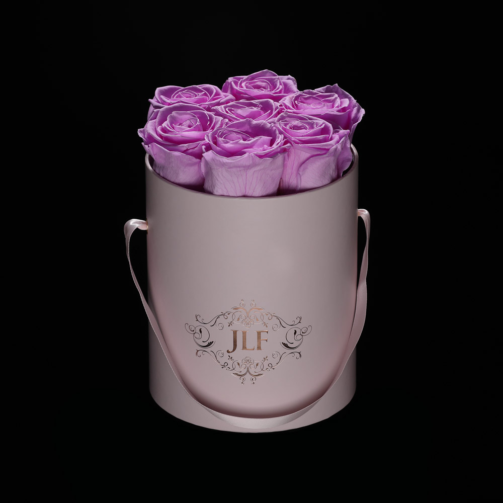 JLF Everlasting Lilac Roses In Mini Box