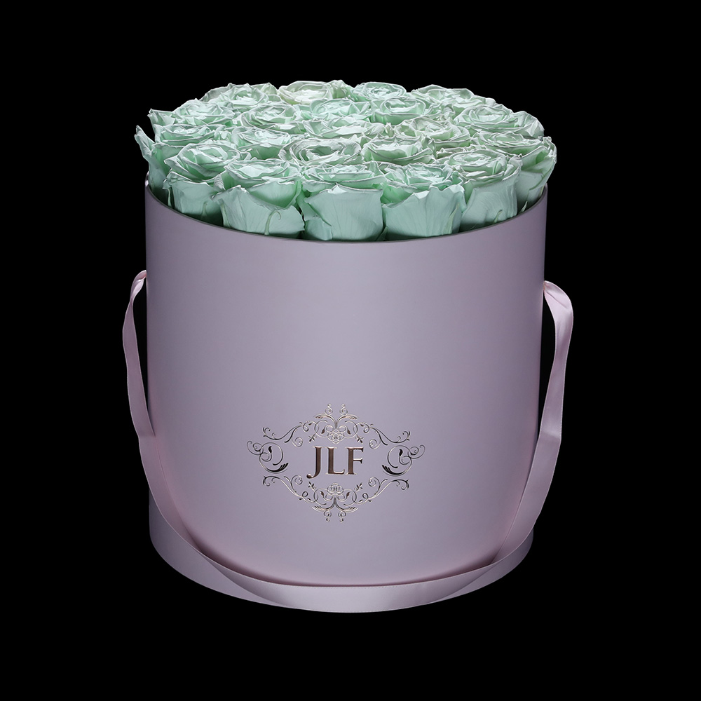 Everlasting Mint Roses In Pink Box