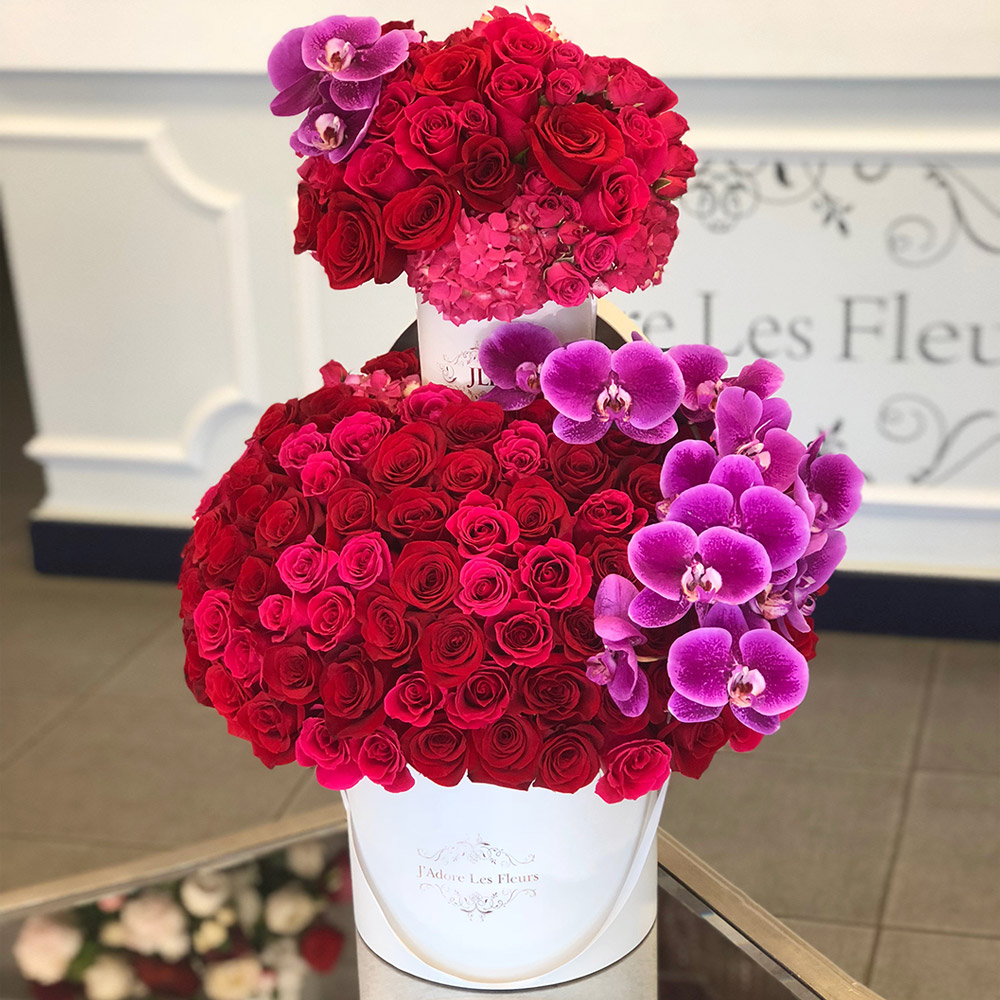Two Tier Roses with Orchids