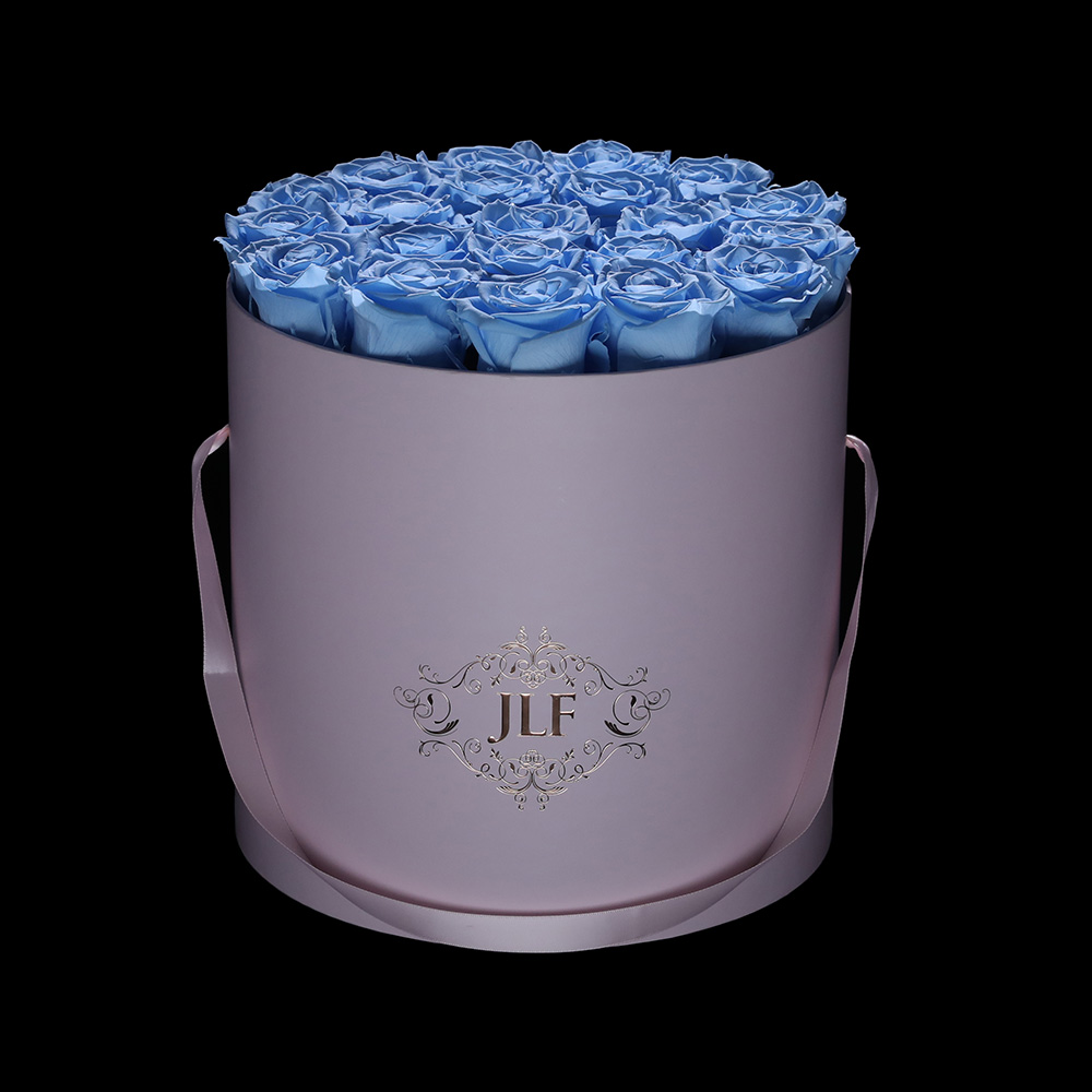 JLF Everlasting Baby Blue Roses In Blush Pink Box