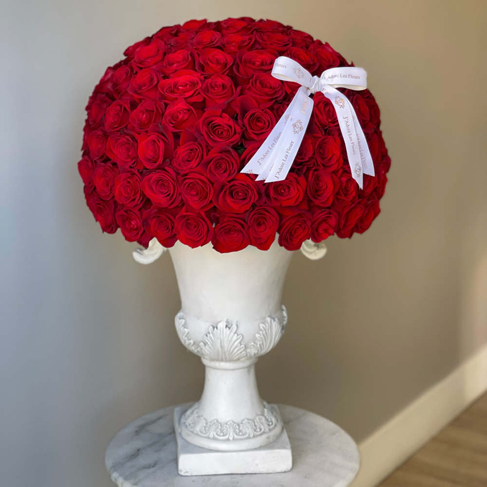 200 JLF Signature Dome Shape Red Roses in an Urn