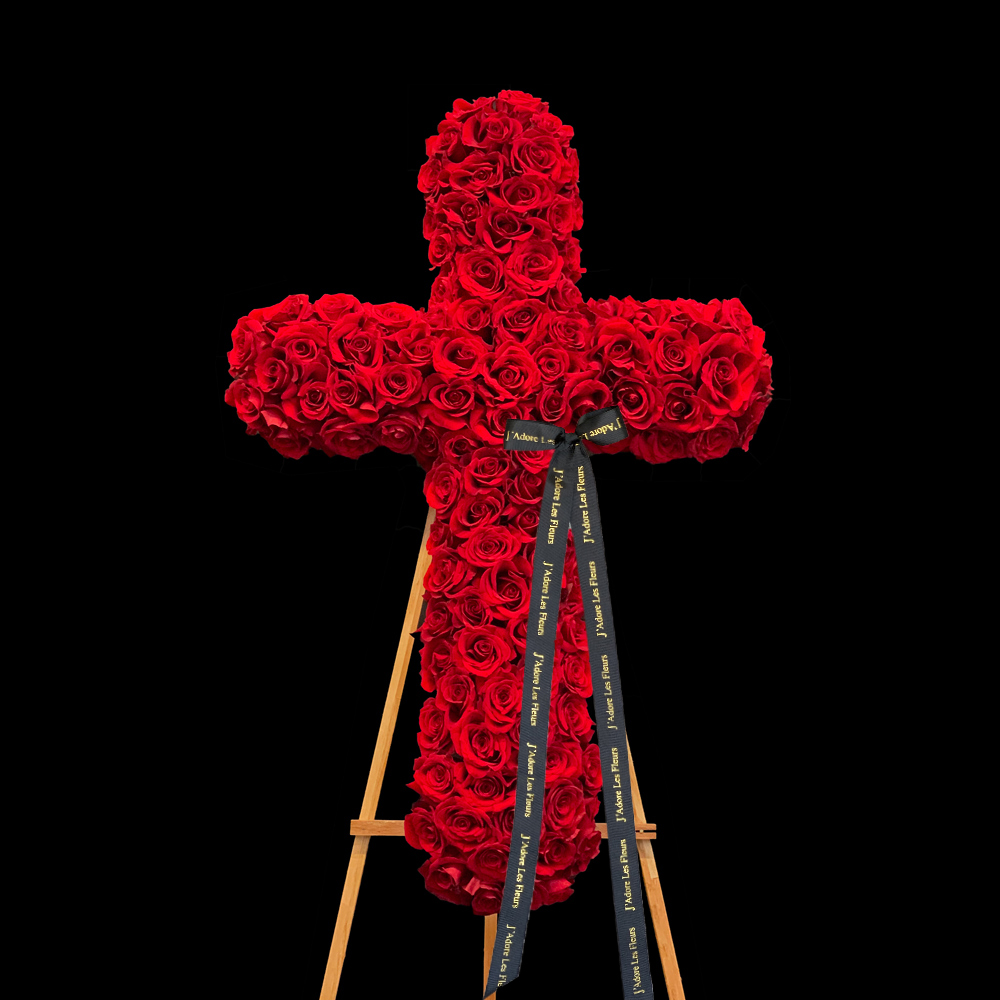 Red Rose Standing Cross JLF Sympathy