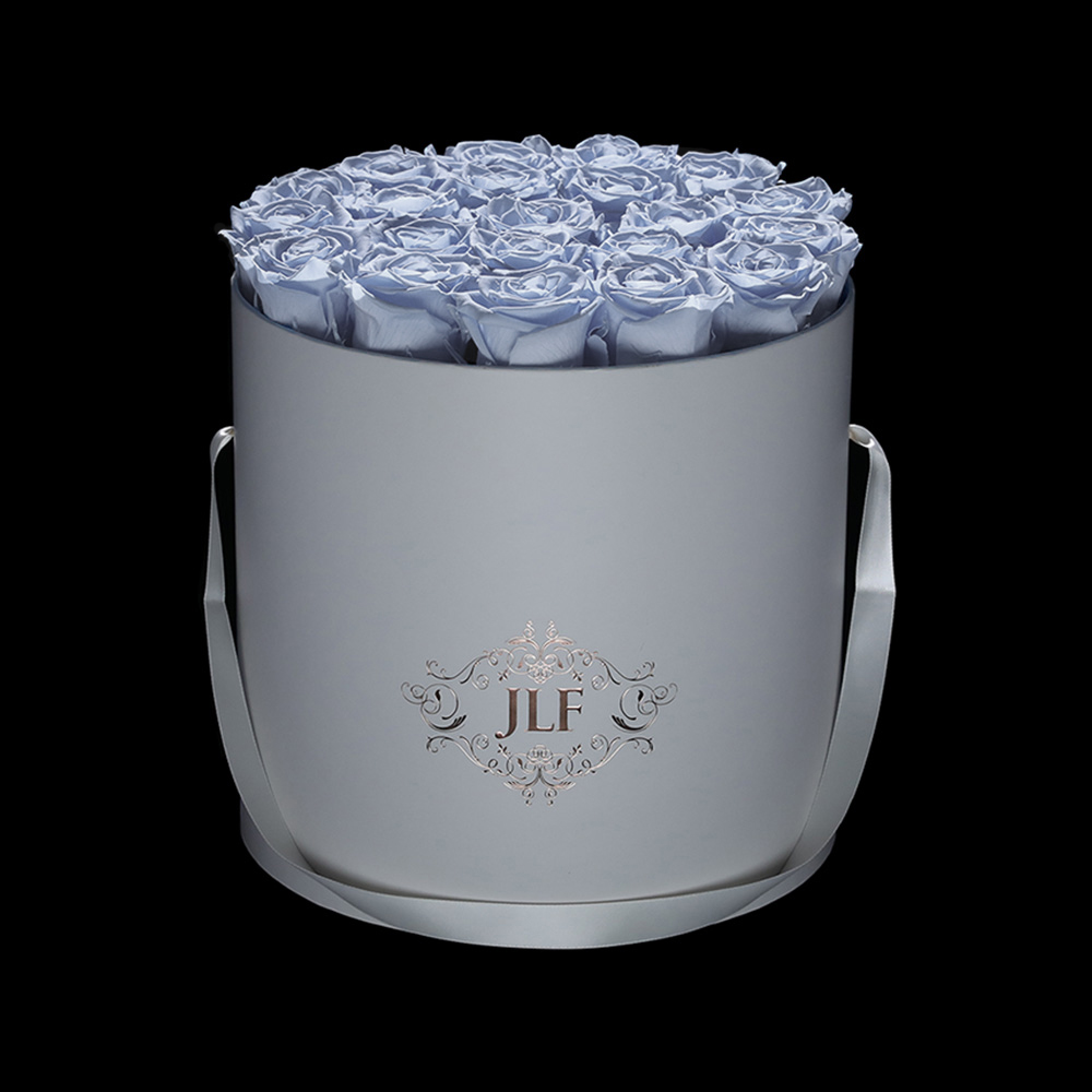 Everlasting Ultralight Blue Roses In White Box