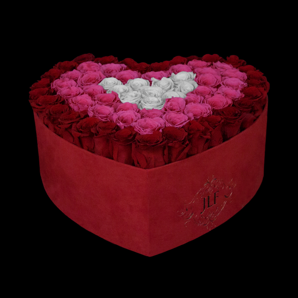 JLF Everlasting Red, Pink And Light Pink Roses In Heart Box