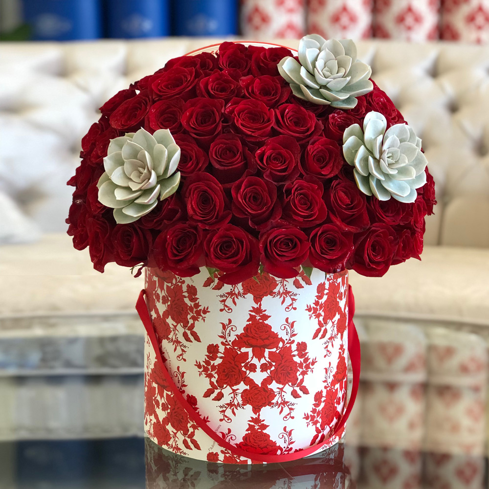 Signature 50 Red Roses With Succulents